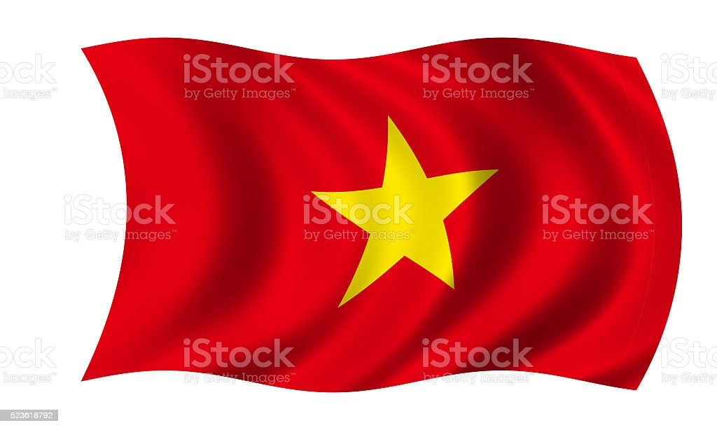 waving vietnamese flag in wind stock photo