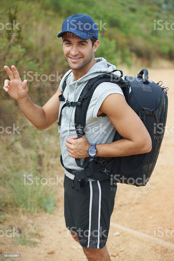 Waving wanderer stock photo