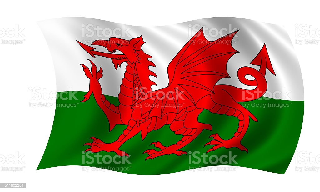 waving welsh flag in wind stock photo
