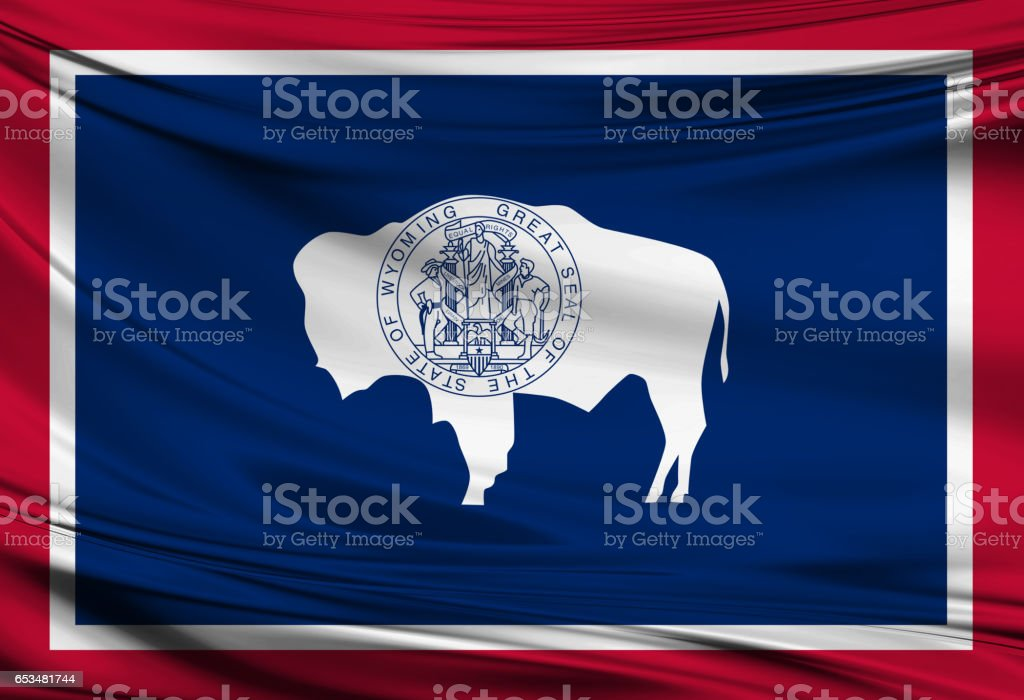 Waving Wyoming State flag stock photo