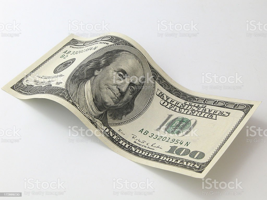 Wavy 100 Dollar Bill stock photo