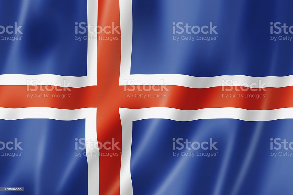 Wavy and glossy Icelandic flag stock photo