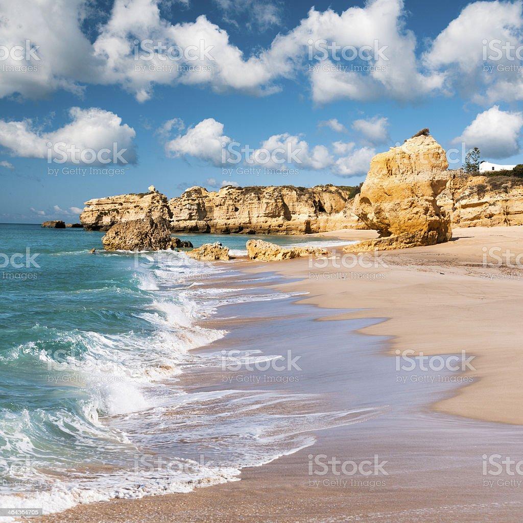 Wavy coast and golden beaches of Albufeira, Portugal stock photo