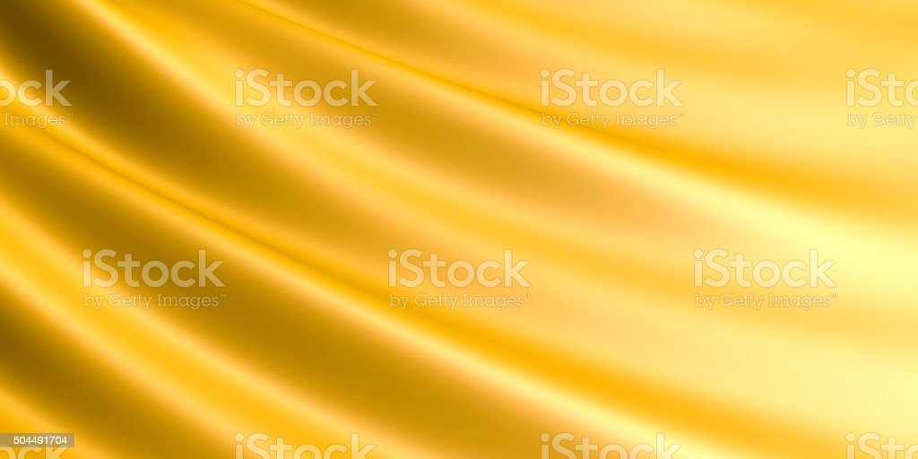 Wavy Golden fabric background. stock photo