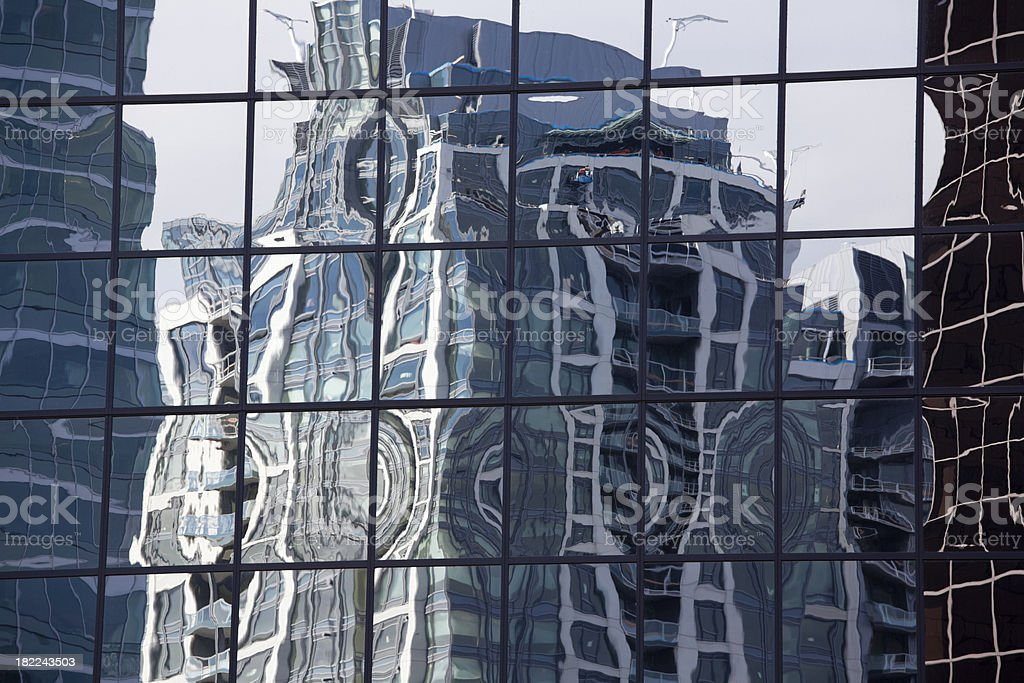 Wavy Highrise Reflection, Background, Pattern, Urban Scene stock photo