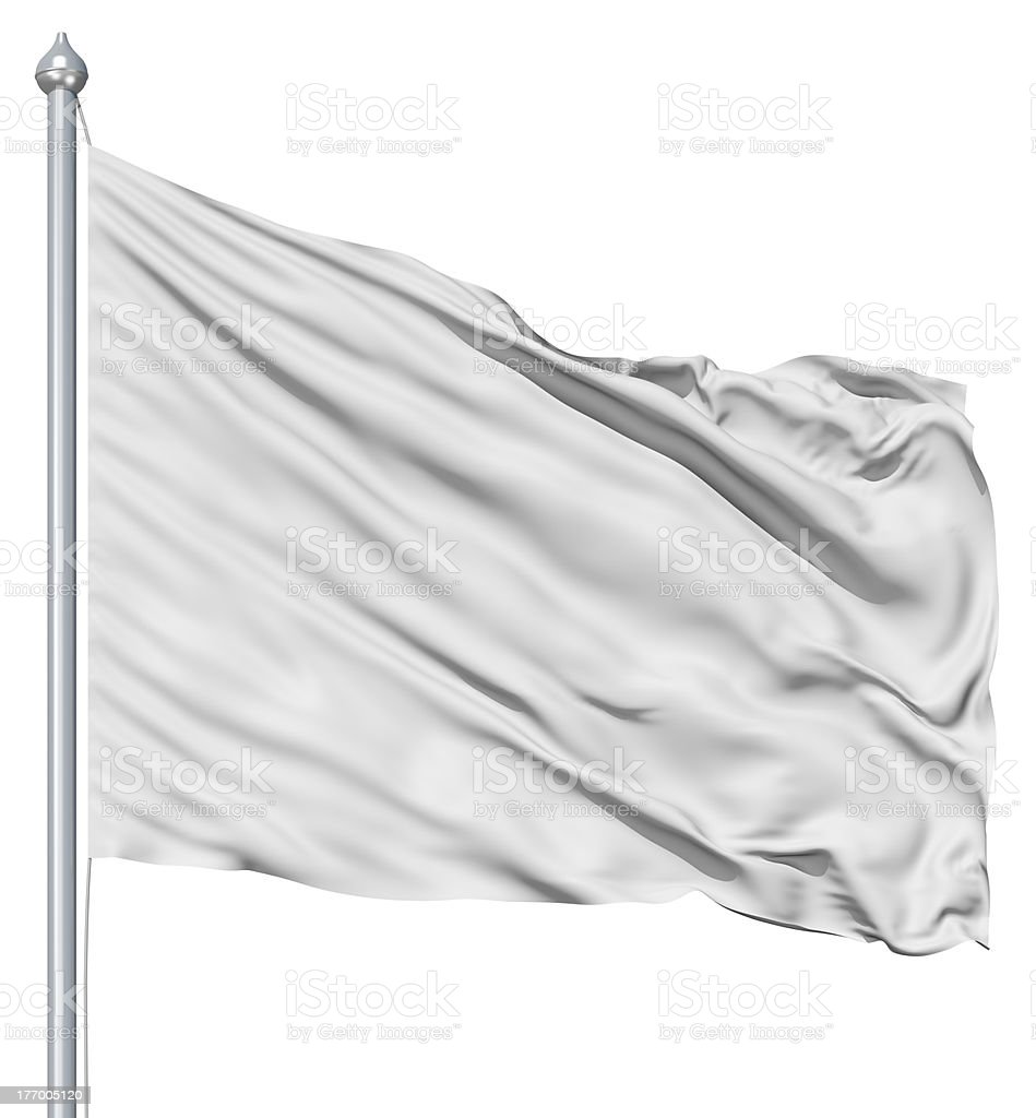 Wavy white textile flag on flagpole stock photo