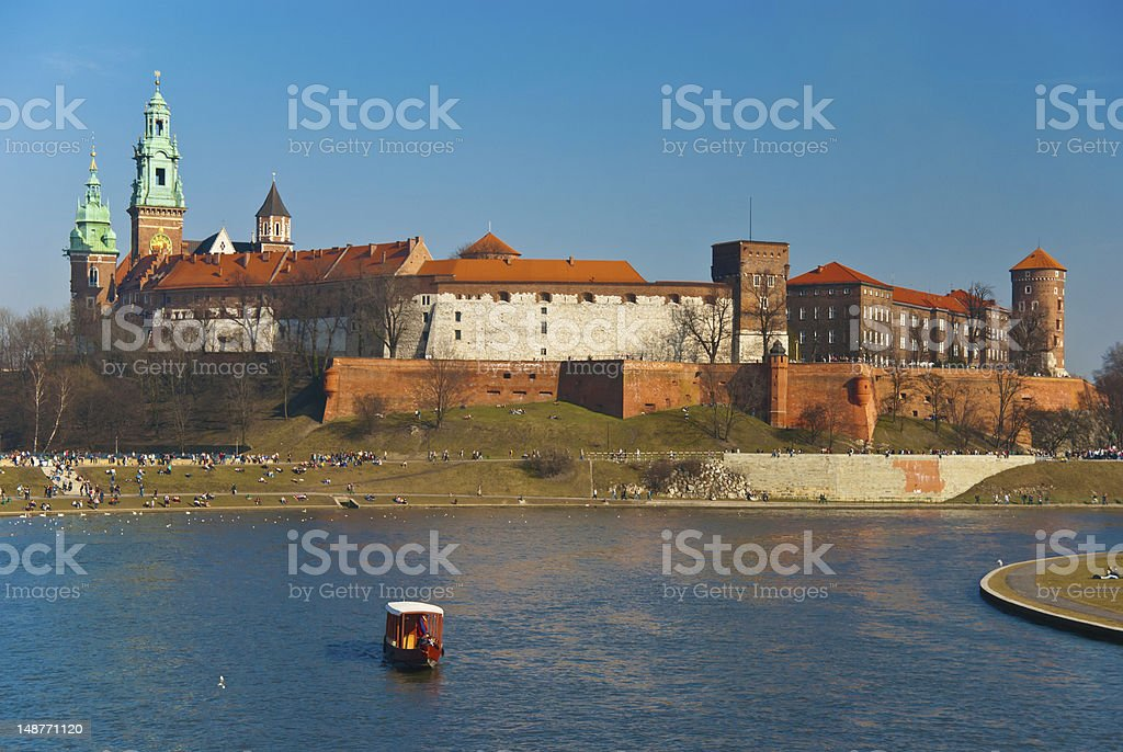 Wawel castle and gondola in Cracow, Poland royalty-free stock photo