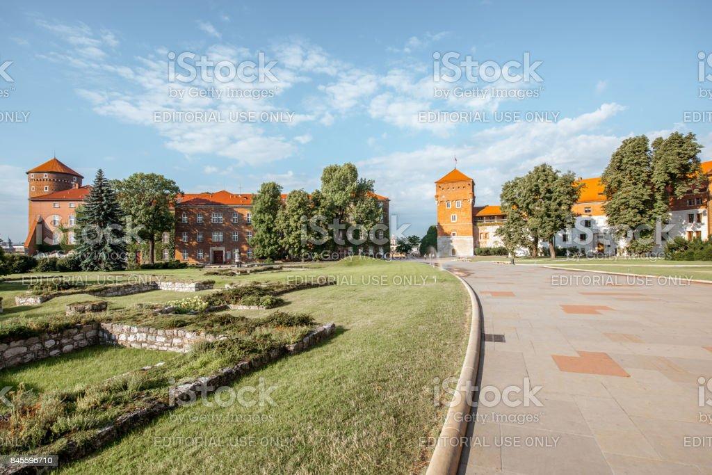 Wawel castle hill in Krakow stock photo