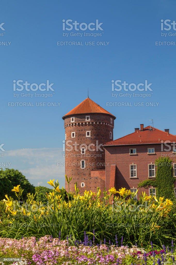 Wawel Royal Castle with Sandomierska Tower, Krakow, Poland. stock photo