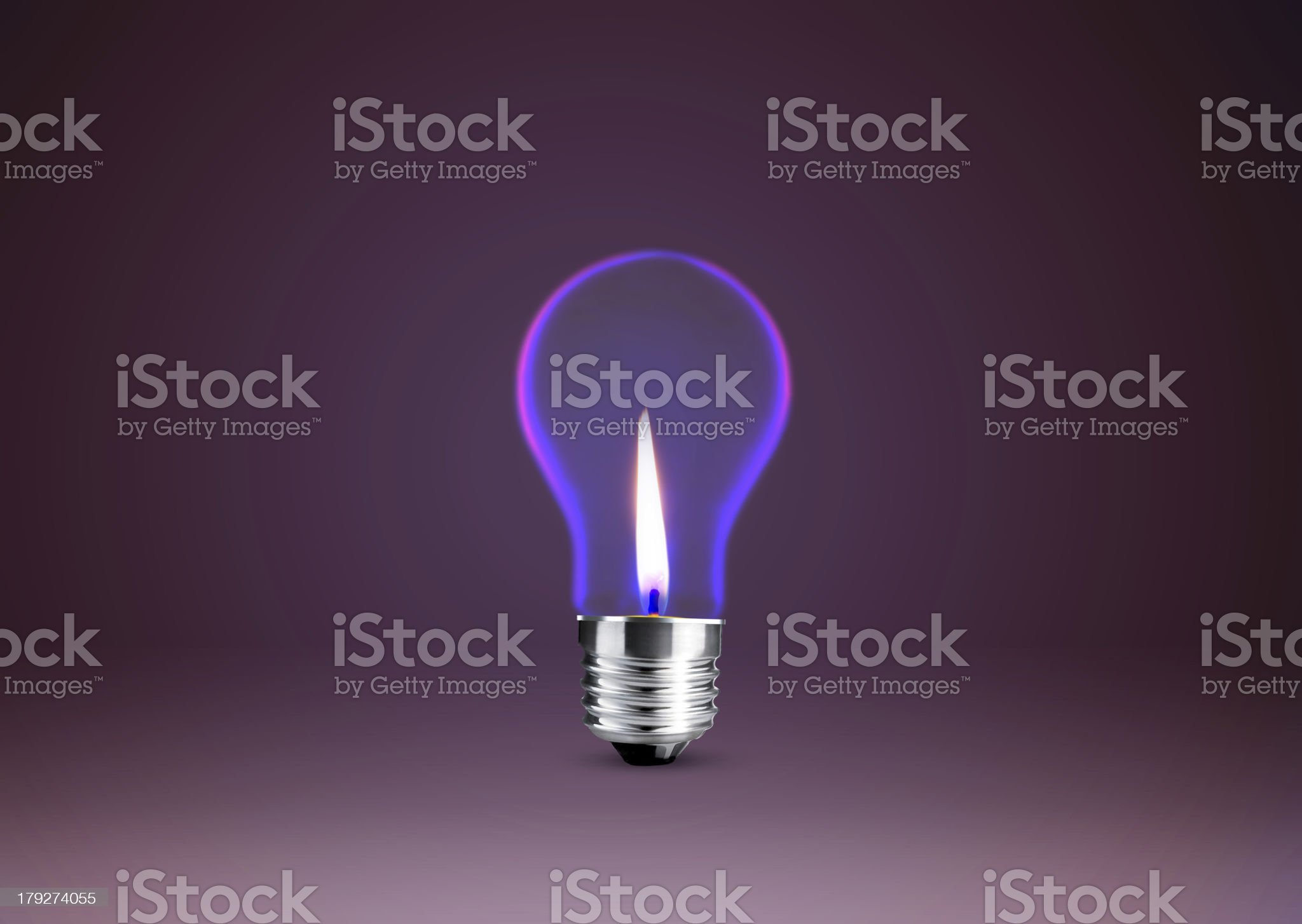 Wax candle into lighting bulb royalty-free stock photo