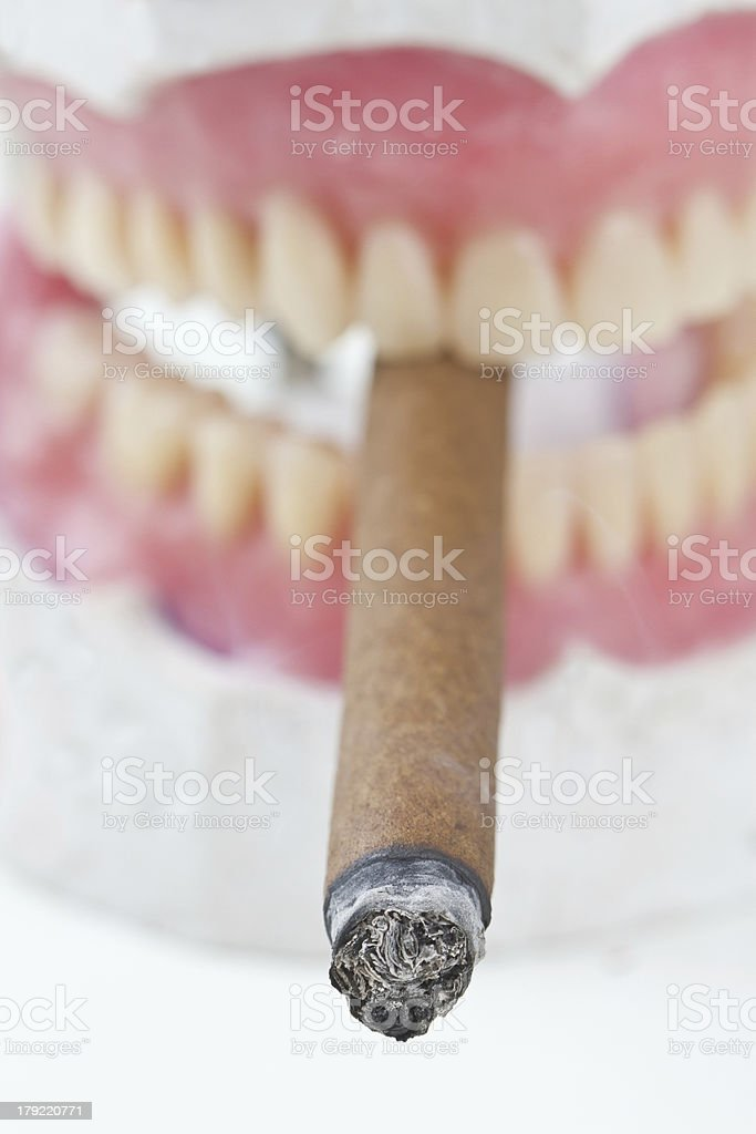 wax denture with cigarette royalty-free stock photo