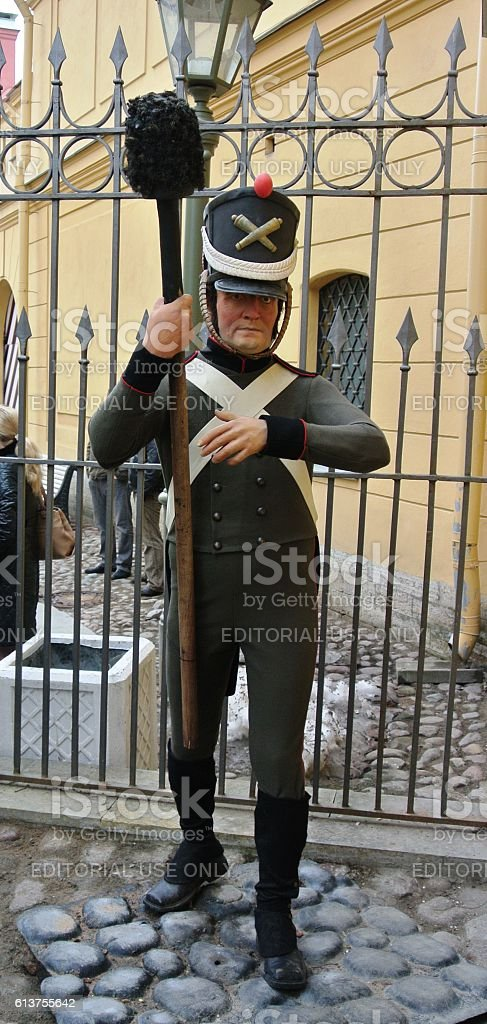 Wax figure guard at entrance to prison in Trubetskoy bastion stock photo