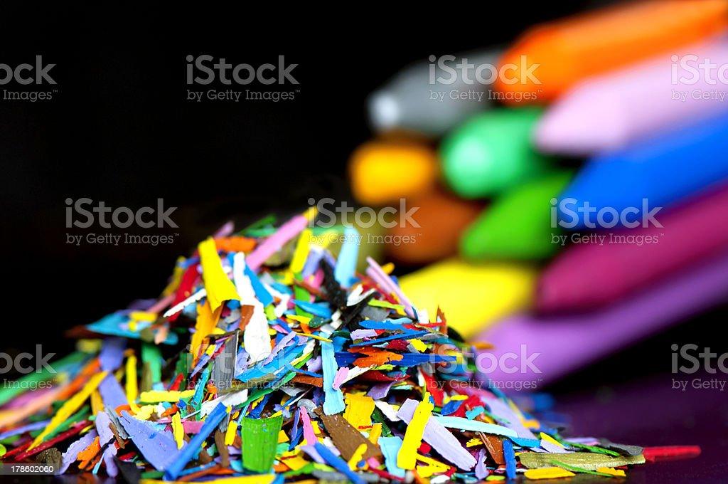Wax pencils with shaving royalty-free stock photo