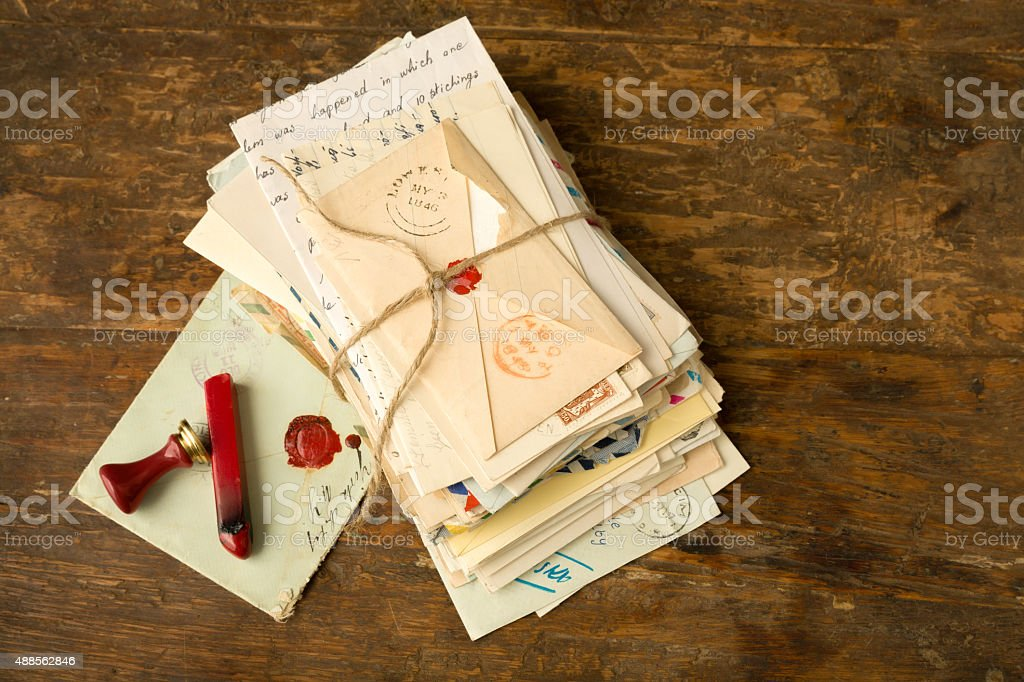 Wax seal and vintage letters stock photo