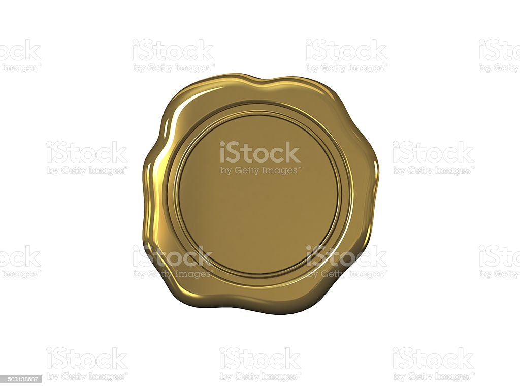 Wax seal on a white background stock photo