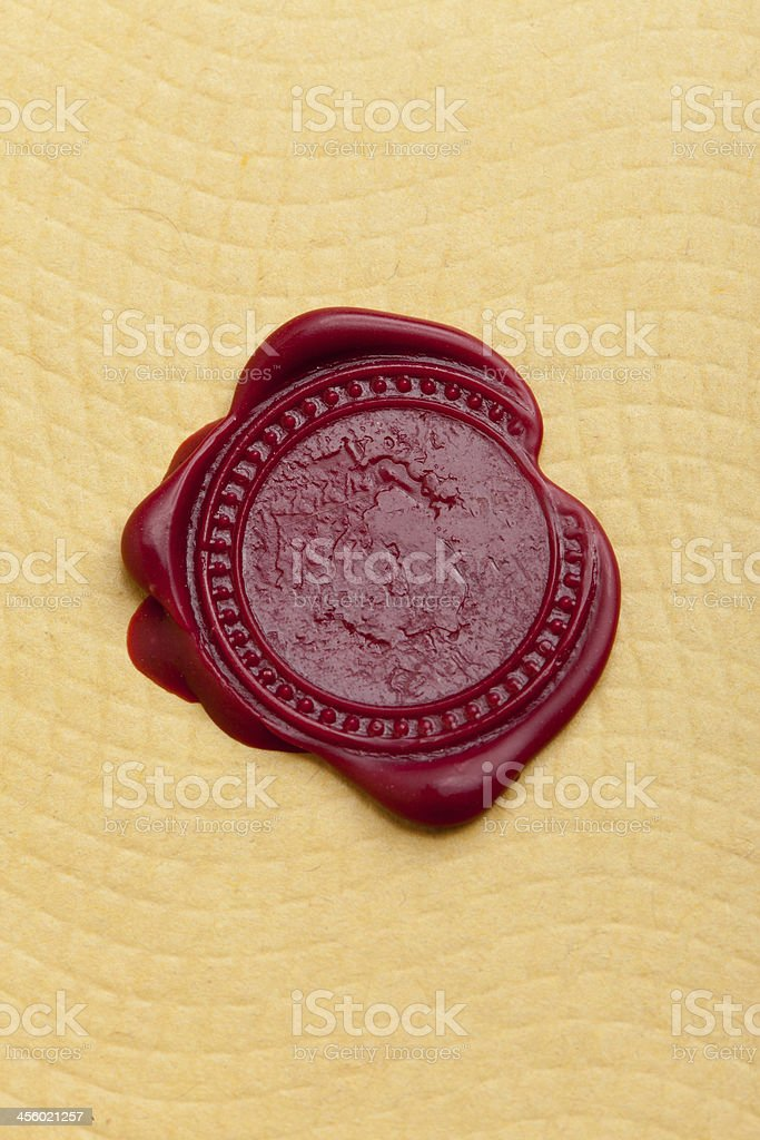 Wax Seal on Paper stock photo