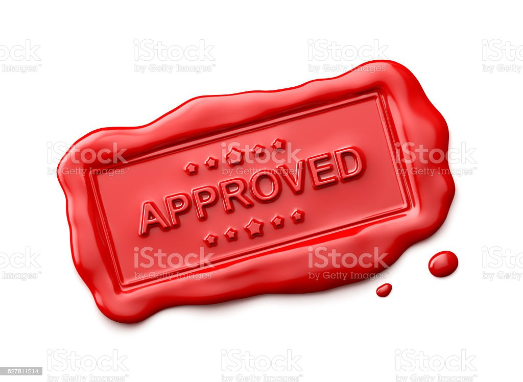 Wax Seal with Approved Word Isolated stock photo