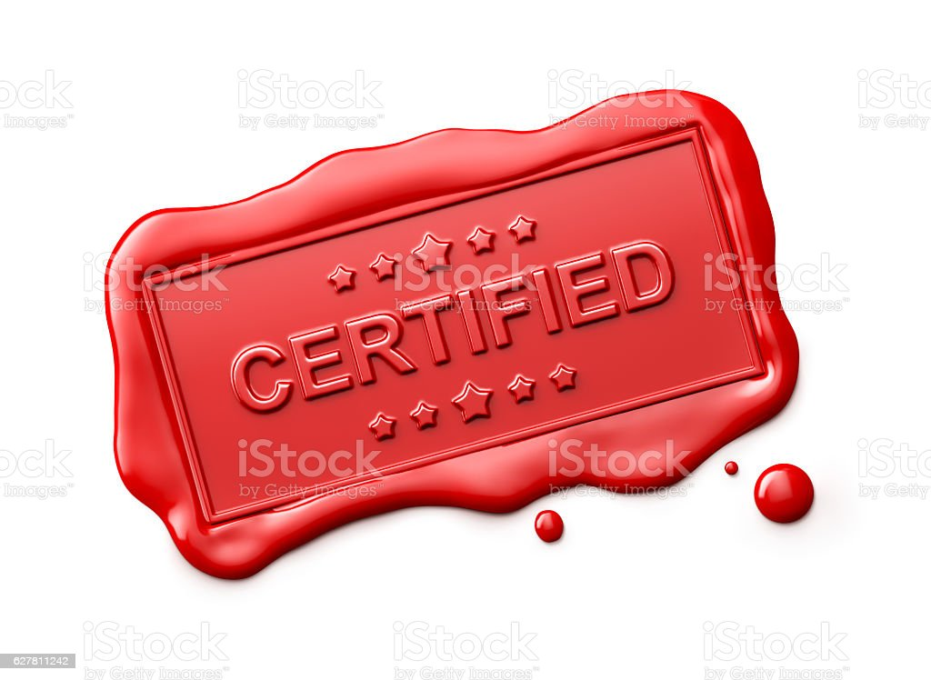 Wax Seal with Certified Word Isolated stock photo