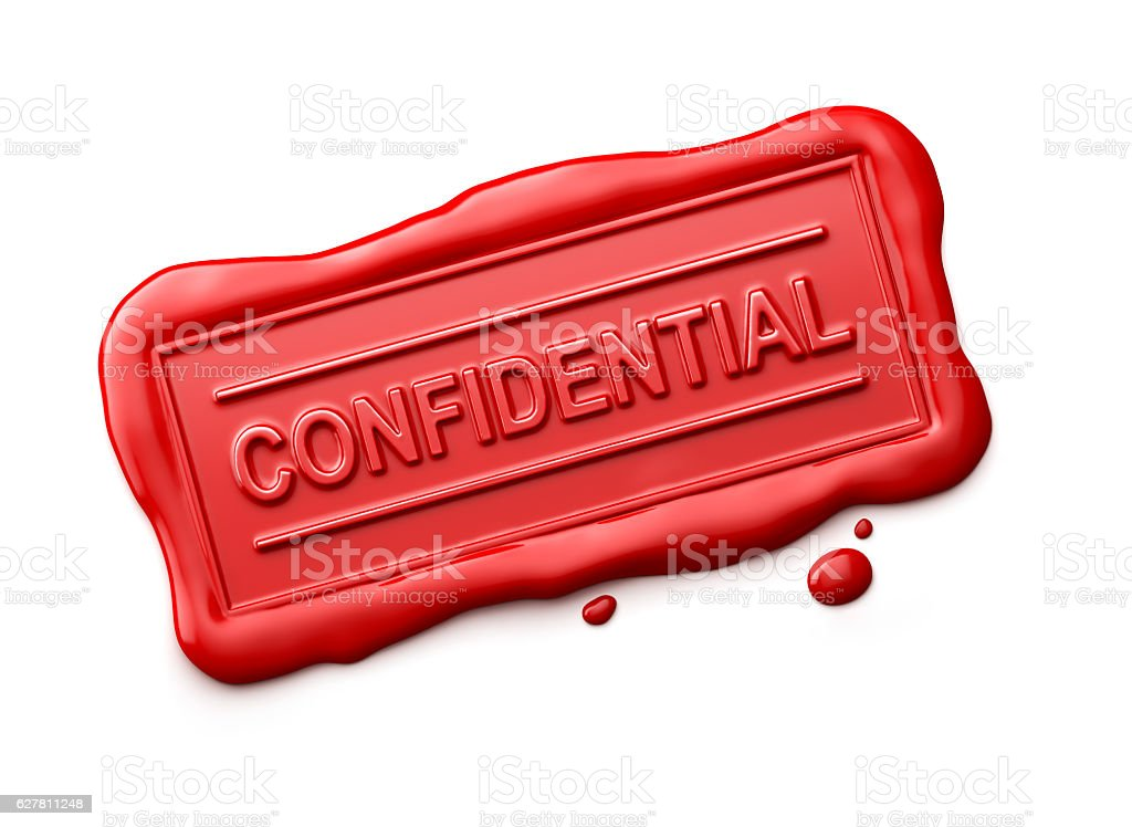 Wax Seal with Confidential Word Isolated stock photo