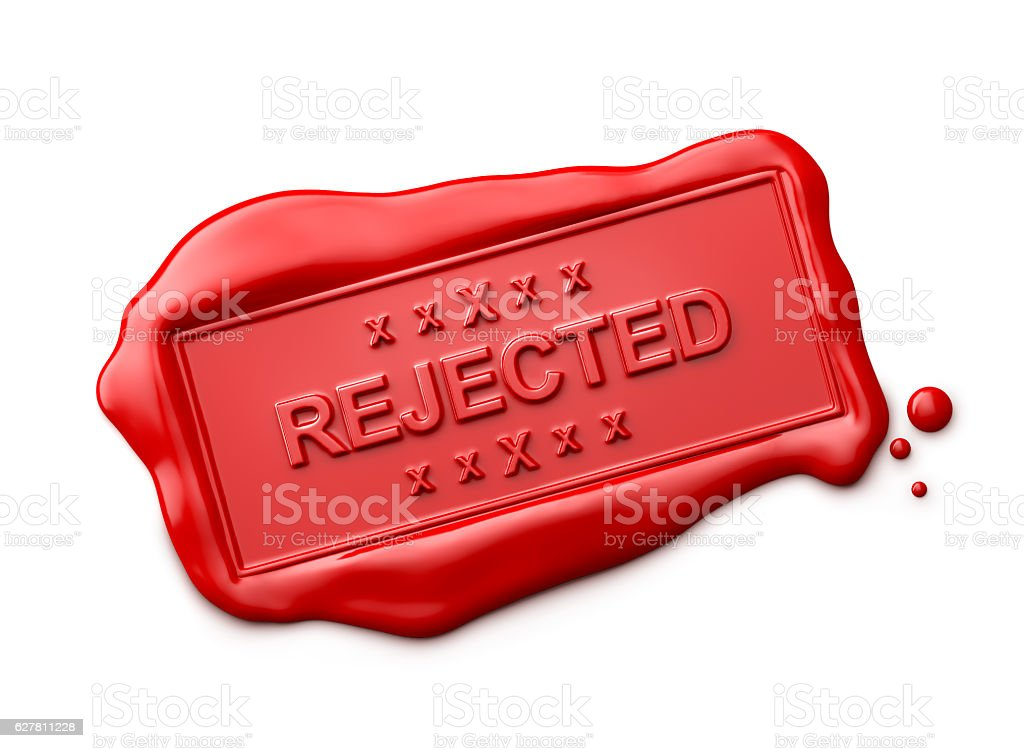 Wax Seal with Rejected Word Isolated stock photo