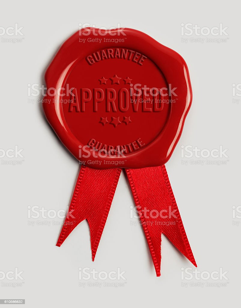 Wax Stamp quoting 'Approved' stock photo