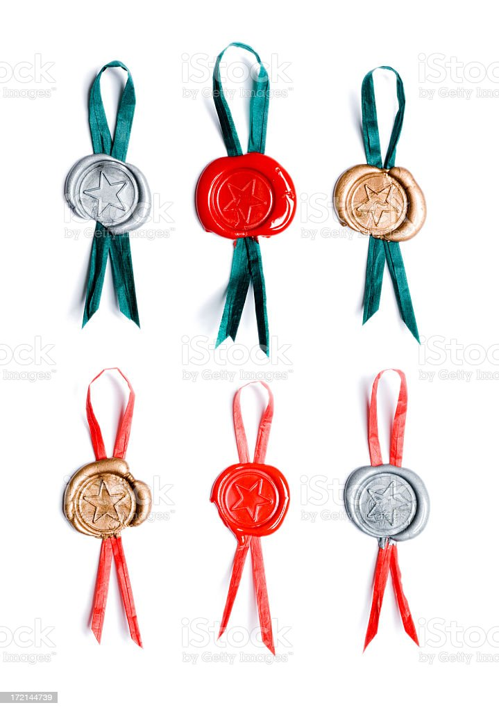 Wax stamp ribbons royalty-free stock photo