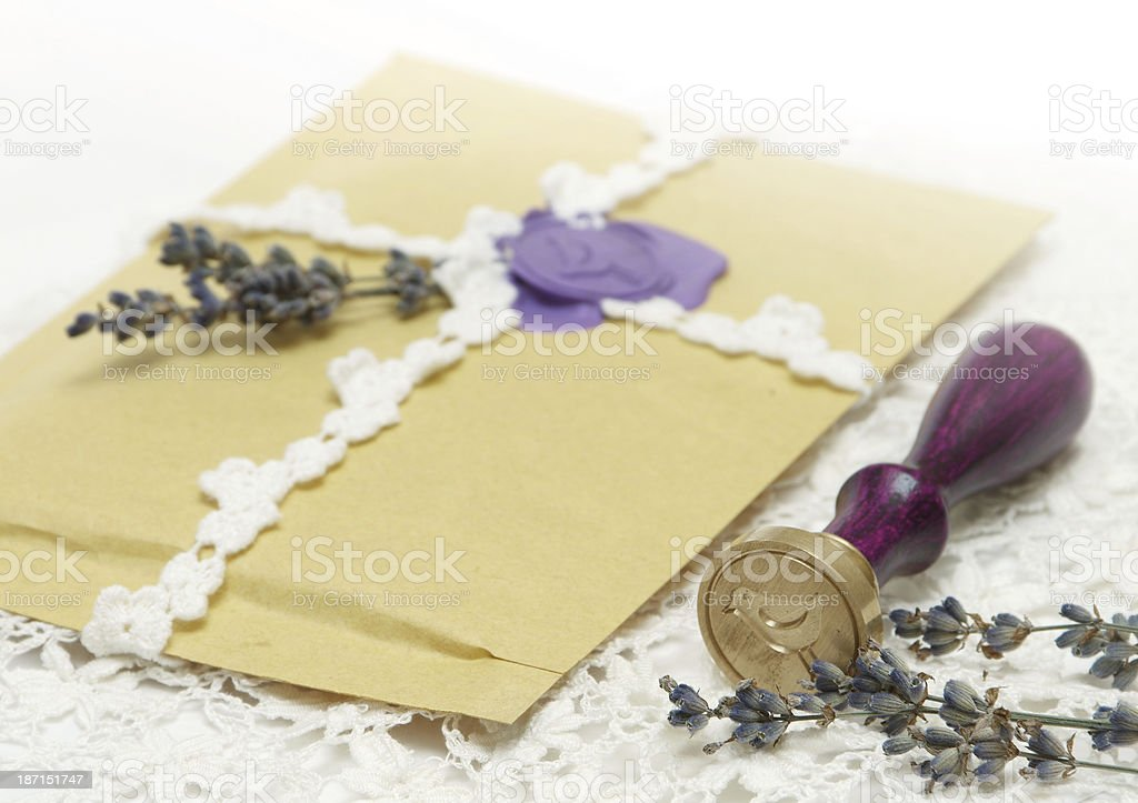 wax stamp with letter stock photo
