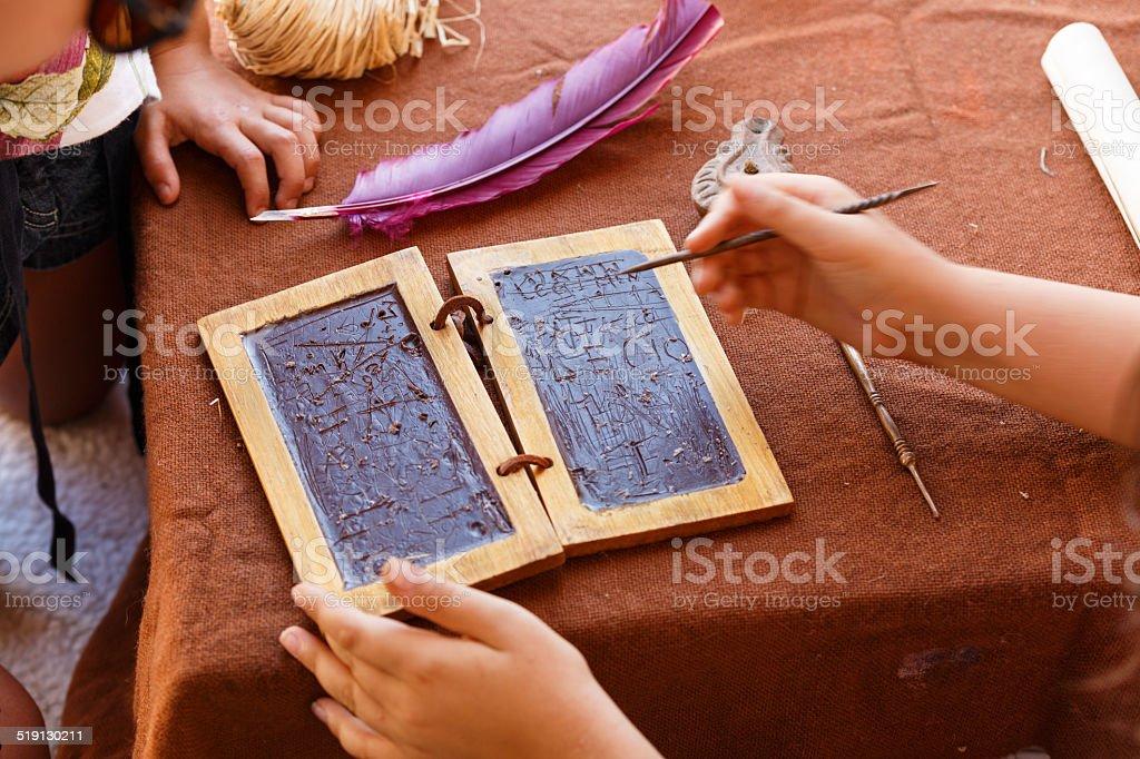Wax tablet Roman Empire stock photo