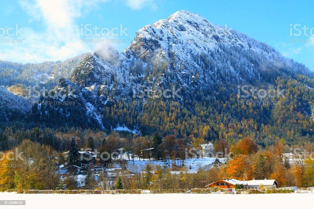 Waxenstein  Bavarian Alps, chalets, idyllic Pine trees woodland under snow landscape, majestic alps valley, dramatic Bavaria german Snowcapped mountain range panorama, Berchtesgaden alps, Germany stock photo