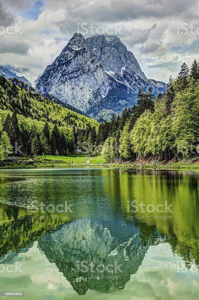 Waxenstein reflection in Riessersee stock photo