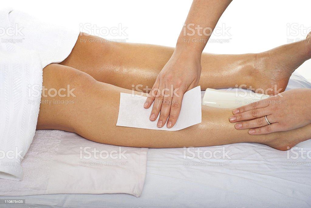 Waxing leg royalty-free stock photo