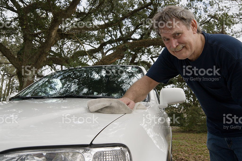 Waxing the Car royalty-free stock photo