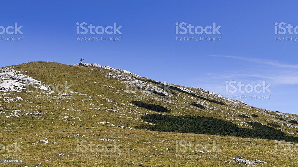 Waxriegel with summit cross, Schneeberg, Lower Austria; Austria stock photo