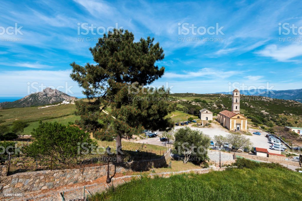 Way down from Sant Antonino village to the church stock photo