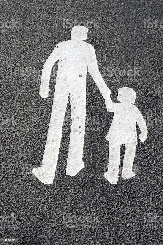 Way for pedestrians  - father with child ,sign on asphalt royalty-free stock photo