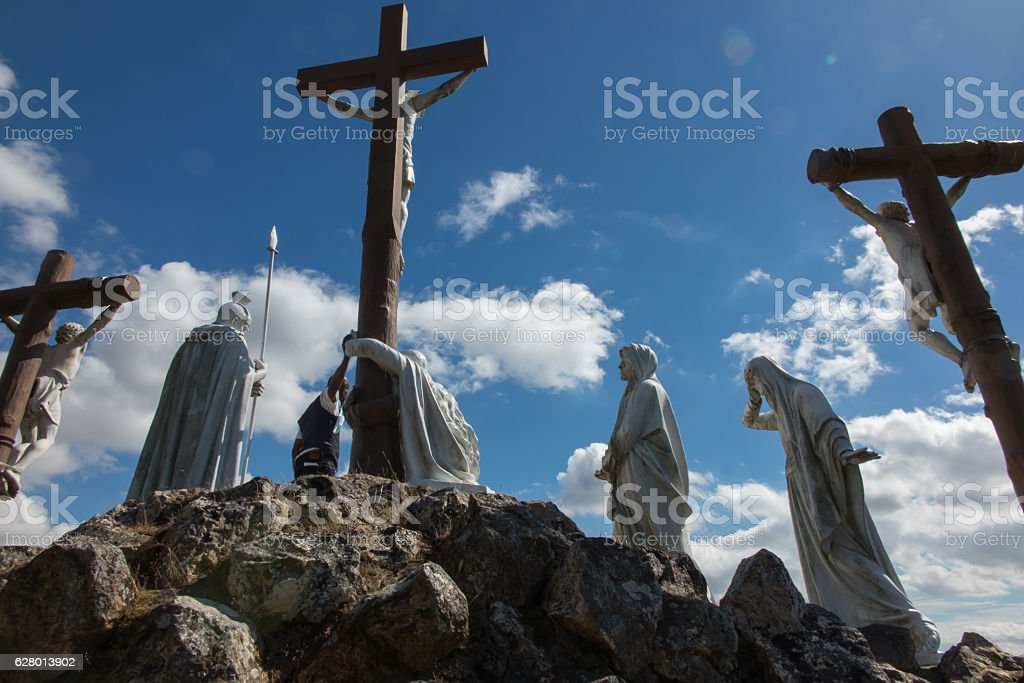 Way of the Cross and Calvary in Pontchateau in France stock photo