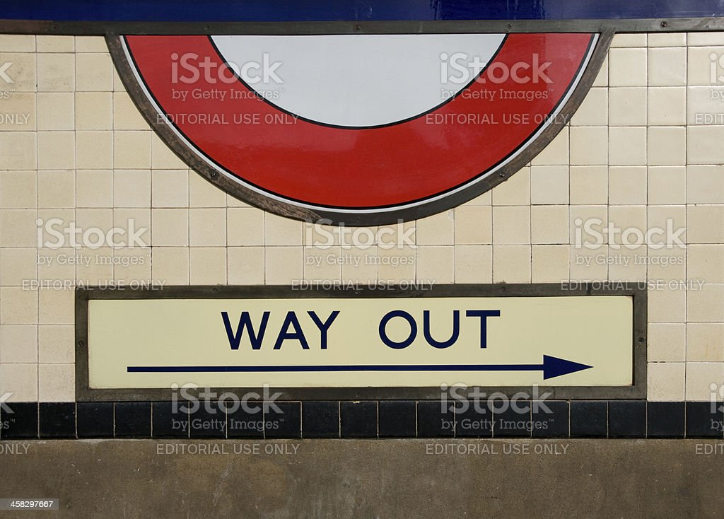 Way out from London Underground stock photo