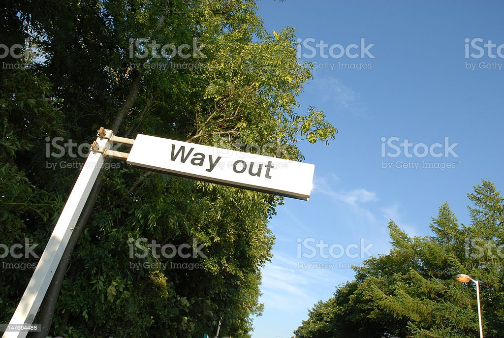 way out sign 1 stock photo