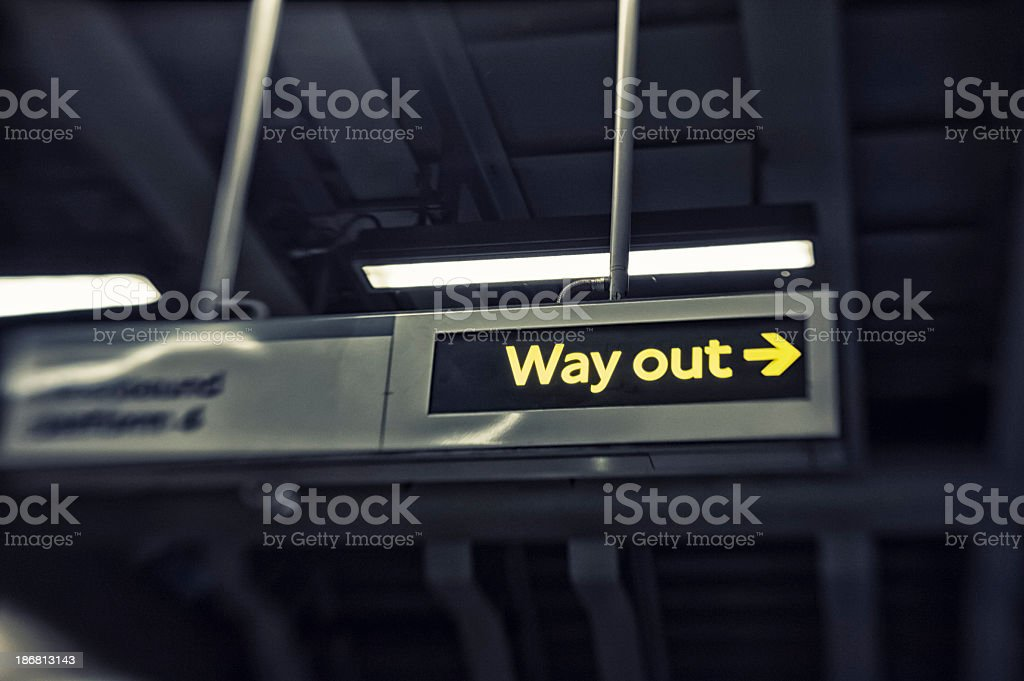 Way Out Sign In Subway Station, London stock photo