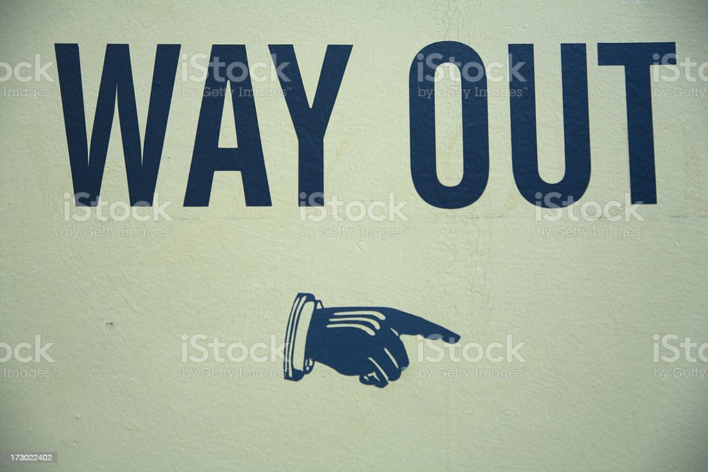 Way out sign on wall. royalty-free stock photo