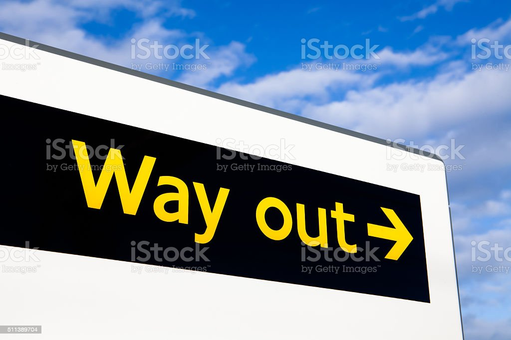 Way out sign stock photo