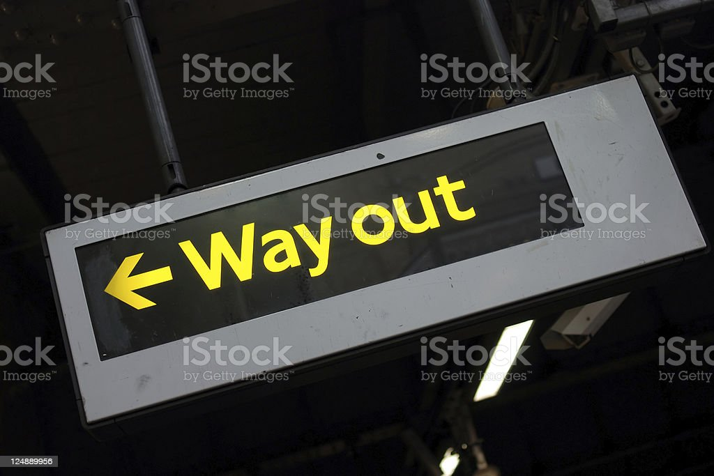 Way out underground sign stock photo
