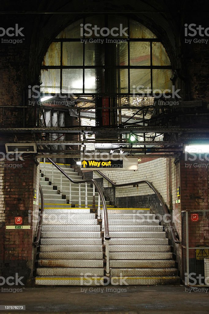 Way out underground staircase royalty-free stock photo