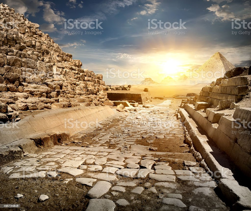 Way through pyramids stock photo