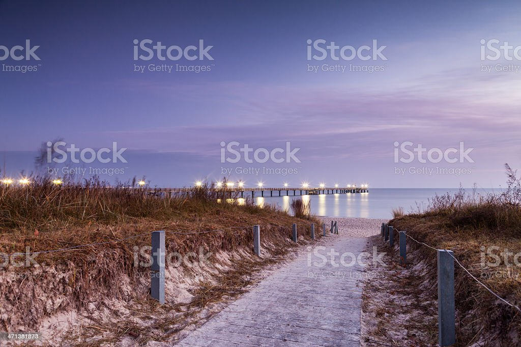 Way to a coastal Landscape at dawn. Pier Binz stock photo