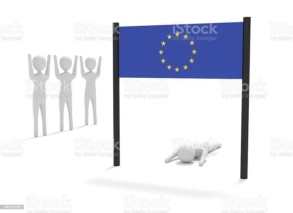 Way to EU: Failure on the home stretch, 3d illustration stock photo