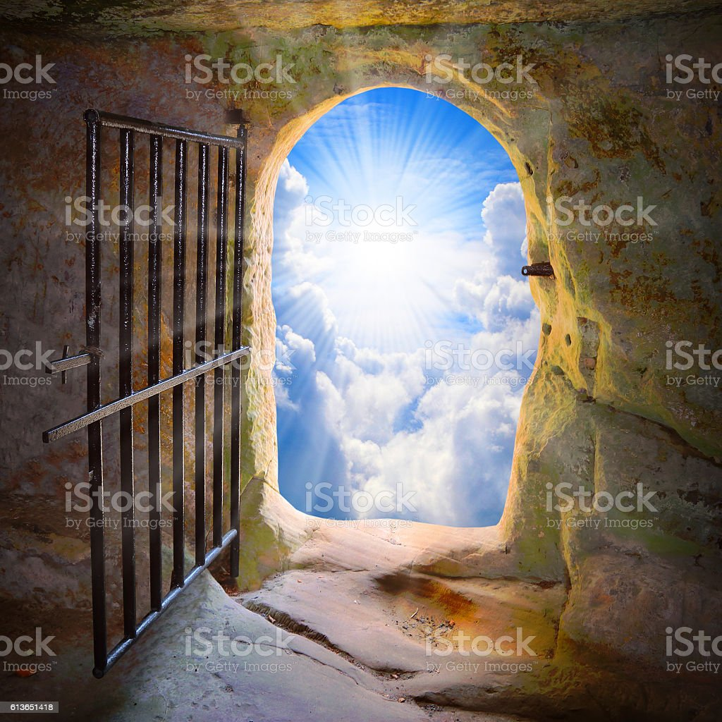 Way to freedom or to heaven. stock photo