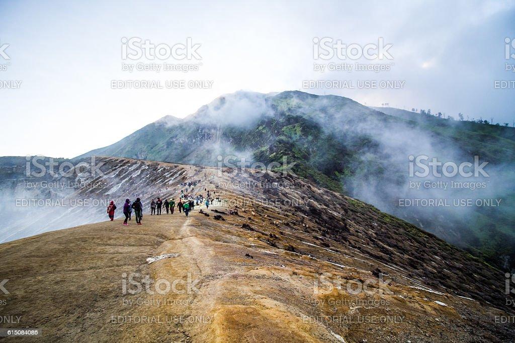 Way to Kawah Ijen Sulfur lake stock photo