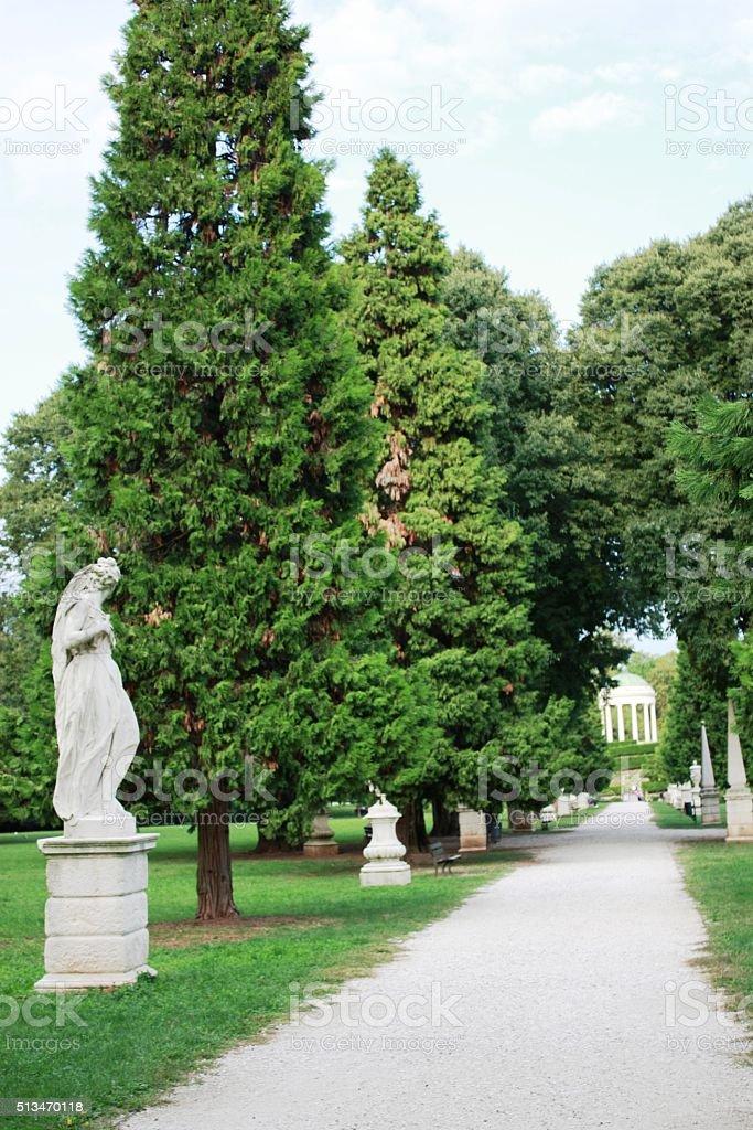 Way to Monopteros in public Park Querini Vicenza, Veneto Italy stock photo