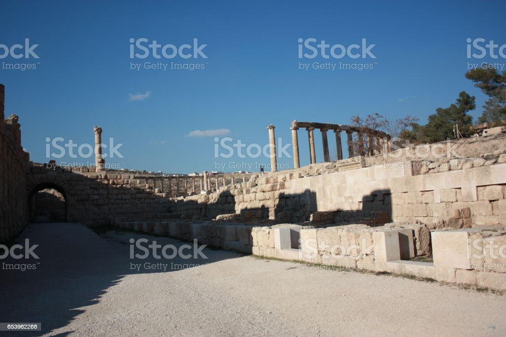 Way to Oval Forum in Jerash in Jordan, Middle East stock photo